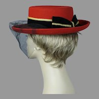 90s Red Curled Brim Hat with Black Velvet and Gold Trim, Veiled Church Hat, Size 22
