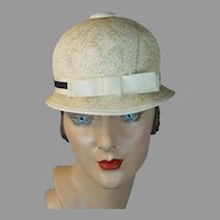 1960s MOD Hat, Beige Straw Patty Duke Cap, Teen Toppers for United Artists TV Inc, Size 21