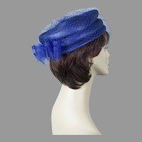 90s Royal Blue Veiled Straw Pillbox Hat Size 22