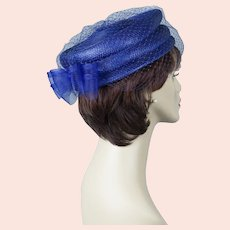 90s Royal Blue Veiled Straw Pillbox Hat Size 22