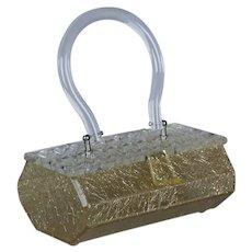 Gold Thread Lucite Box Purse Handbag with Clear Leaf Cut Lid