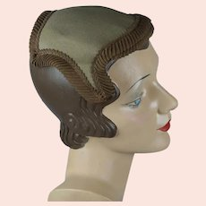 50s Taupe and Brown Clip Hat, Close Hat by Draper Fifth Avenue
