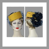 90s Gold Asymmetrical Pillbox Statement Hat by Sonni, Size 22