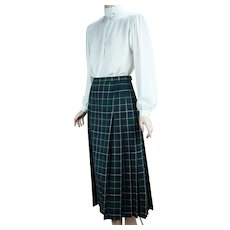 90s Blue Green Watch Plaid Pleated Skirt by Pendleton Size 12
