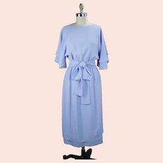 80s Don Wolf Couture Soft Blue Crepe Midi Party Dress, Size S