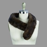 Vtg Dark Brown Mink Collar for Coats or Sweaters