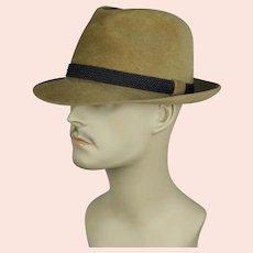 Vintage Tan Felt Fedora by Cavanagh, Size 7 1/8 Long Oval