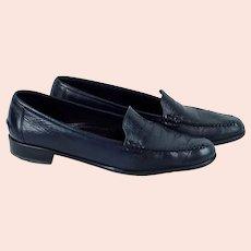 Womens Amalfi Rangoni Italian Navy Blue Brighton Leather Loafers,  Sz 9