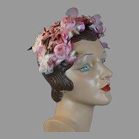60s Pink Floral Clip Hat, Half Hat