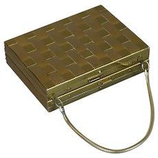 1950s Evans Minaudiere, Compact Evening Case, Dance Carryall Handbag, Monogrammed Minaudiere