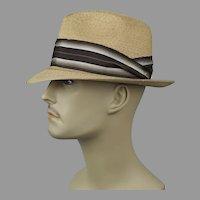 Vtg Straw Fedora by Resistol, Self-Conforming, Size 7 Hat