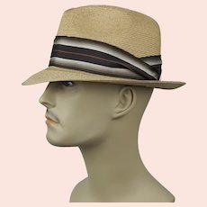 Vtg Straw Fedora by Resistol, Self-Conforming, Size 7 Hat