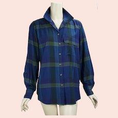 Ralph Lauren Womens Blue and Purple Plaid Button Front Shirt, Ralph Lauren Monogrammed, Size 10 Blouse