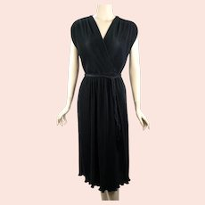 70s Black Micro Pleated Dress by Leslie Fay, Size M - L