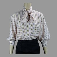 70s Polka Dot Pink and Taupe Nylon Blouse by Sportempos, Size 15/16 B42