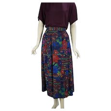 Floral Abstract Multi Colored Pleated Midi Skirt by Geiger, Made in Austria, Sz 7 W28