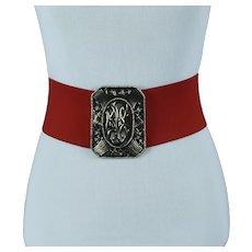 1950s Wide Red Stretch Belt