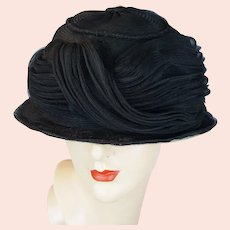1920s Black Horsehair Brimmed Cloche Hat, Size 23