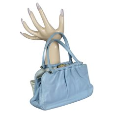 Pale Blue Leather Handbag - Stenchevers