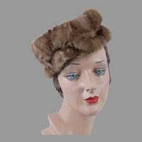 1960s Light Brown Mink Pillbox Hat with Ribbon Crown, Size 22 1/2