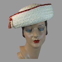 60s White and Red Straw Breton by Modern Miss, Size 22 1/2