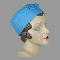 Vtg Blue Linen Cap, Handmade with Matching Hatpin, Size 22