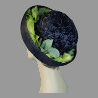 60s Navy Blue Straw Breton with Lime Green Silk Florals by Quaker Maid, Size 21 1/2