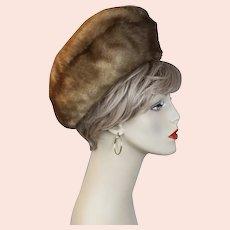 Vtg Bubble Crown Light Brown Mink Hat, Size 22