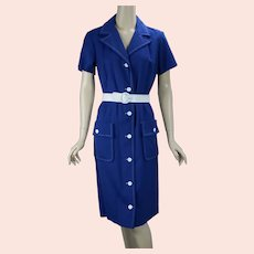 80s Blue and White Button Front Casual Dress with Tags, Country Miss, Size 14