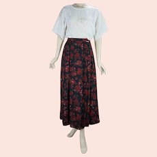 90s Red Rose Midi Pleated Skirt by Geiger, Made in Austria, Size 7, W28