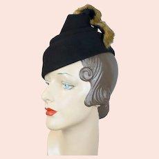 1940s Black Felt Chimney Crown Tilt Hat with Mink Trim - Wolf Wile Co. Size 22