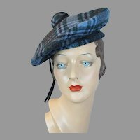 Vtg Wool Blue Plaid Banded Beret by Adolfo II, Size 21