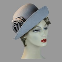 90s Pearl Gray Felt Cloche Hat with Upturned Brim by Kathy Jeanne, Size 22