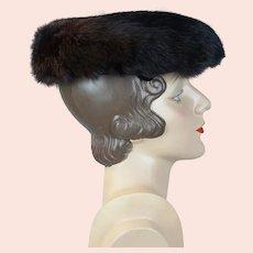 1950s Dark Brown Mink Mushroom Brim Hat by Christine