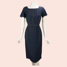 1950s Black Linen Form Fitting Dress, B36 W27