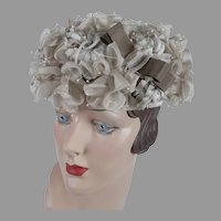 60s Taupe Silk Flowered Half Clip Hat