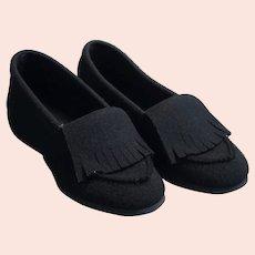 Vtg Black Felt Daniel Green Slippers, Size 7.5