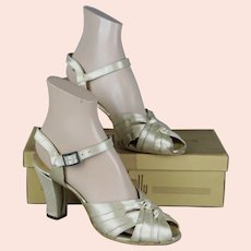 1930s Satin Open Toe Sandals with Cuban Heels by Kitty Kelly, Original Box, Size 7