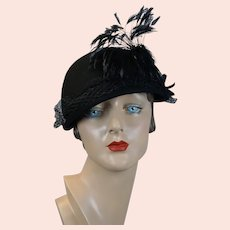 Black Felt Feathered and Veiled Derby Style Hat, Size 22