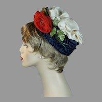50s Navy Blue Straw Pillbox Hat with Silk Rose