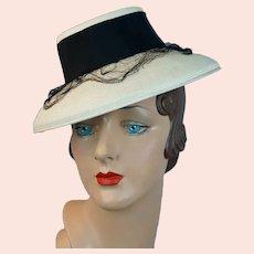 1940s Antique White Straw Brimmed Tilt Hat