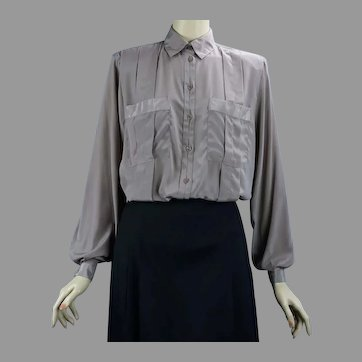 90's Taupe Long Sleeve Blouse by Kristine Alexander, Size 8