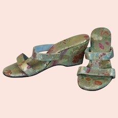 50s Gold Brocade Wedge Heel Sandals, Size 5