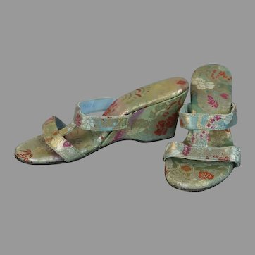 50s Gold Brocade Wedge Heel Sandals, Size 5
