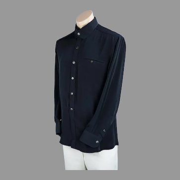 Custom Tailored Mans Black Rayon Shirt Chest 44