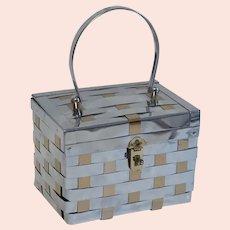 50s Silver and Gold Metal Weave Box Purse, Handbag