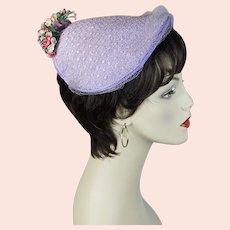 50s Lavender Straw Floral Close Hat