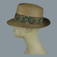 60s Milan Straw Fedora with Green Paisely Hatband