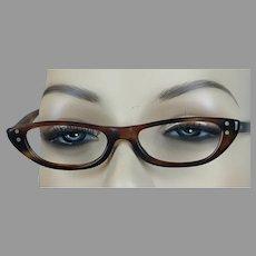 Vtg Amber Mini Eyeglass Frames by American Optical NOS