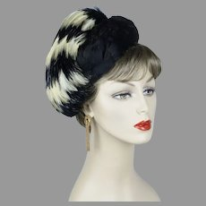 50s Exotic Gay Paree Feathered Pillbox Hat